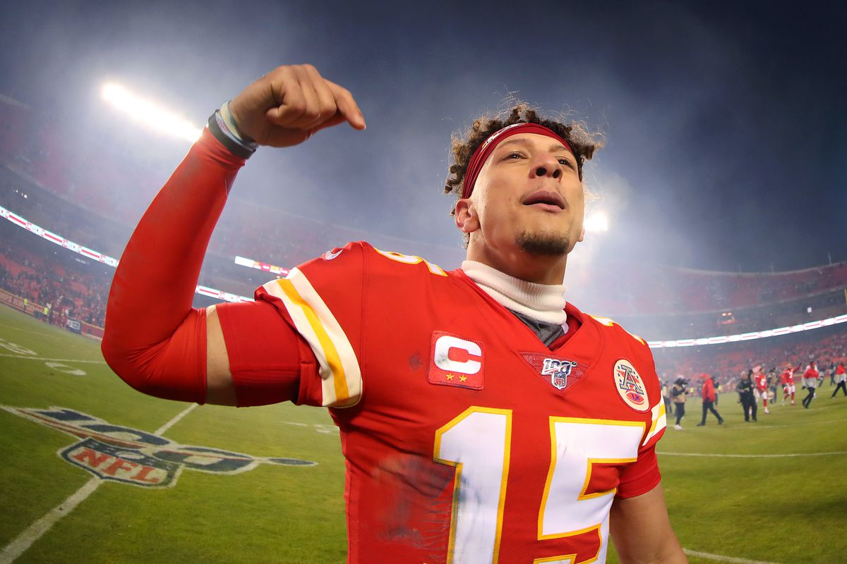 Patrick Mahomes #15 of the Kansas City Chiefs celebrates his teams win against the Houston Texans in the AFC Divisional playoff game at Arrowhead Stadium on January 12, 2020 in Kansas City, Missouri.