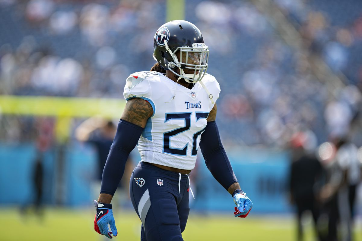 Derrick Henry #22 of the Tennessee Titans warms up prior to the game against the Arizona Cardinals at Nissan Stadium on September 12, 2021 in Nashville, Tennessee.