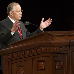 Elder Neil L. Andersen, Quorum of the Twelve Apostles speaks during the Sunday afternoon session of the 183rd Semiannual General Conference for the Church of Jesus Christ of Latter-day Saints Sunday, Oct. 6, 2013 inside the Conference Center.