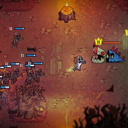 A random encounter in <em>Nobody Saves the World</em>'s overworld. Believe it or not, this zombie horde is on your side. We think.