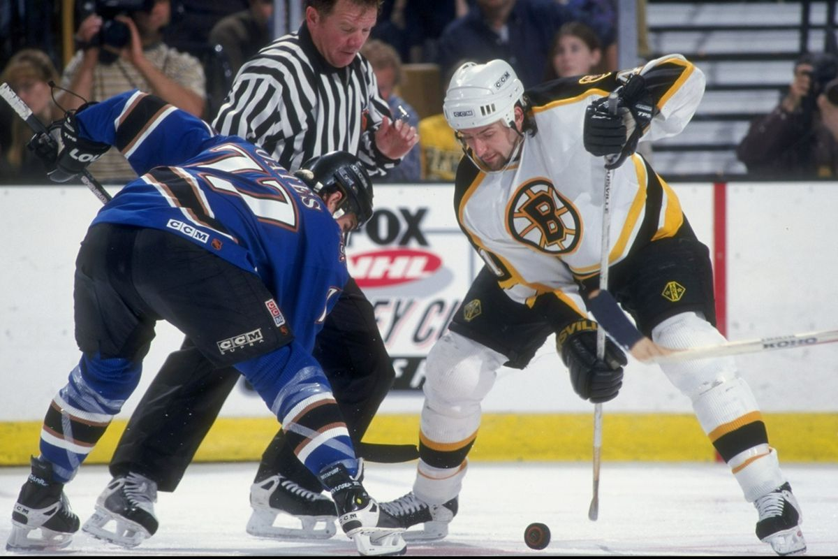 3 May 1998: Center Jason Allison of the Boston Bruins (right) in action against center Adam Oates of the Washington Capitals during their game at the Fleet Center in Boston, Massachuttes. The Capitals defeated the Bruins 3-2.