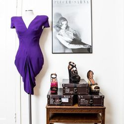 An Alexander McQueen dress with Alaia platforms