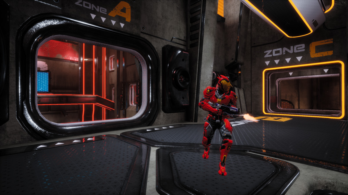 Splitgate - an external view of a player soldier