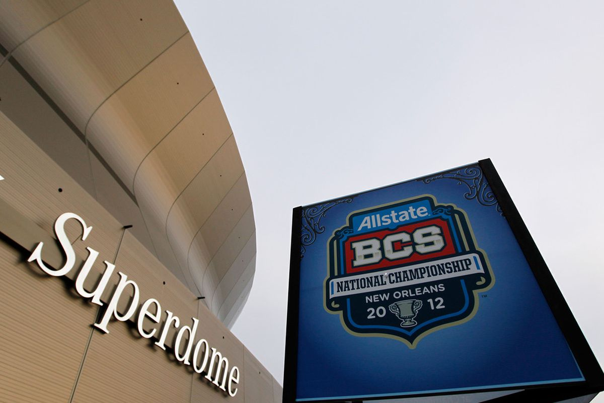 NEW ORLEANS, LA - JANUARY 09:  The Mercedes-Benz Superdome is seen prior to the 2012 Allstate BCS National Championship Game on January 9, 2012 in New Orleans, Louisiana.  (Photo by Kevin C. Cox/Getty Images)