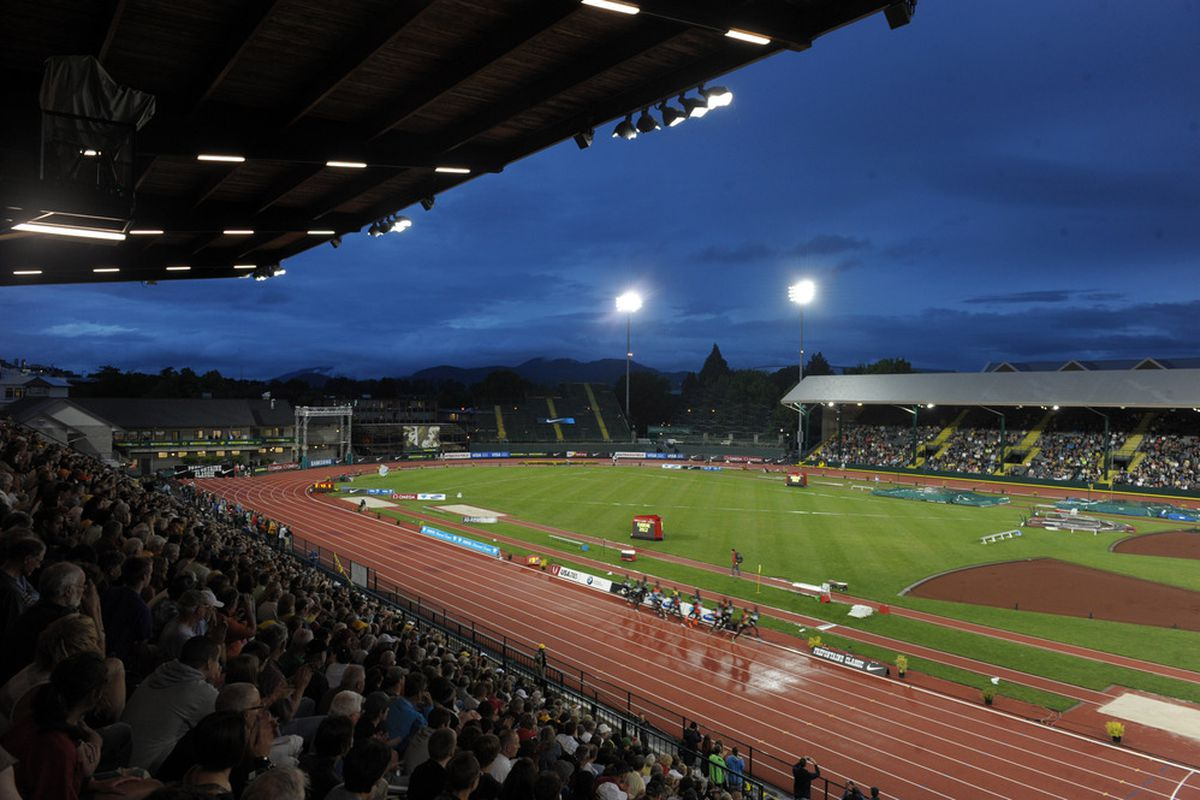 Jun 1, 2012; Eugene, OR, USA; General view of the Kenyan Olympic Trials 10,000m in the 2012 Prefontaine Classic at Hayward Field. Mandatory Credit: Kirby Lee/Image of Sport-US PRESSWIRE