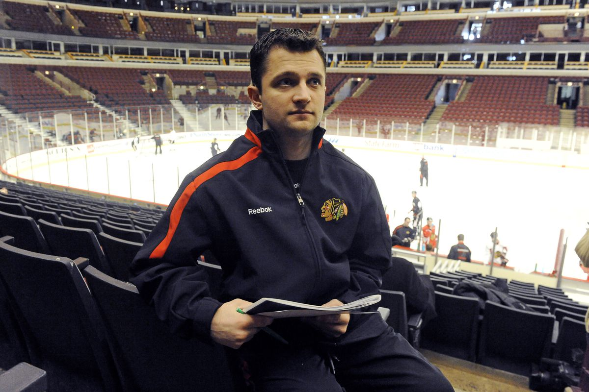 Former video coach Bradley Aldrich, seen here in February 2010, allegedly assaulted a Blackhawks player in May 2010.
