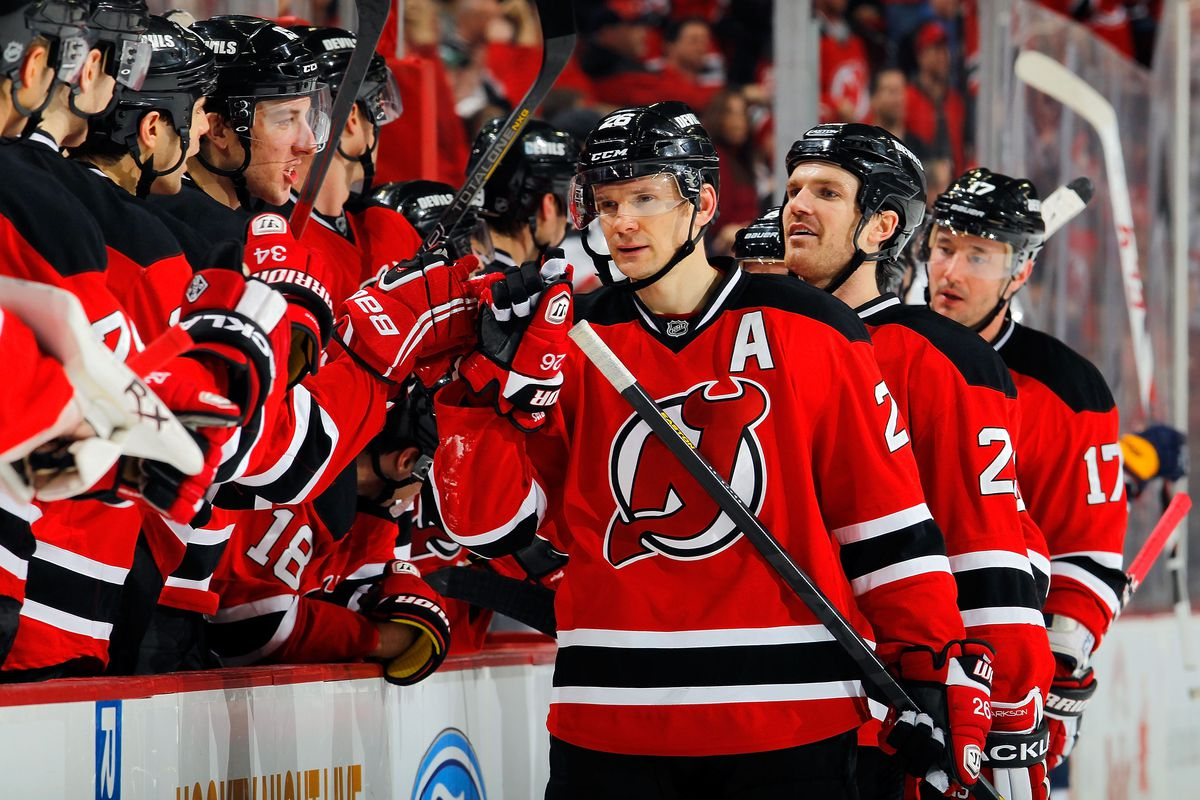 Patrik Elias leads the team in scoring at the end of the first half of their season.