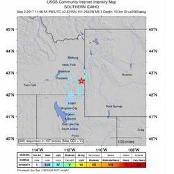 A 5.3-magnitude earthquake shook southern Idaho and northern Utah on Saturday, Sept. 2, 2017. The map shows areas where tremors were detected.