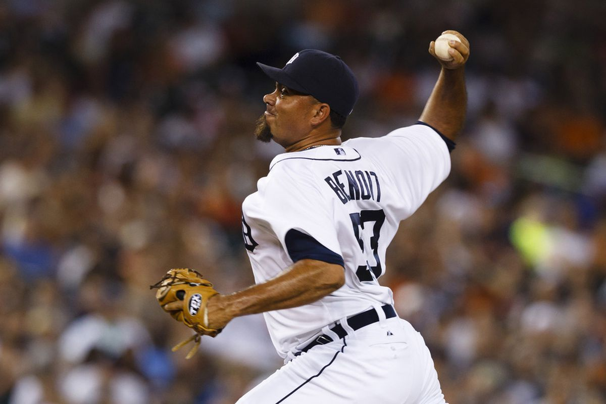 Joaquin Benoit pitches during the eighth inning against the St. Louis Cardinals at Comerica Park. Detroit won 6-3. Mandatory Credit: Rick Osentoski-US PRESSWIRE