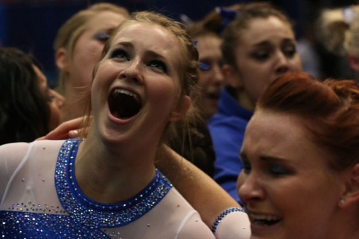 Claire Boyce (left) and Bridget Sloan react to Florida's second national title.
