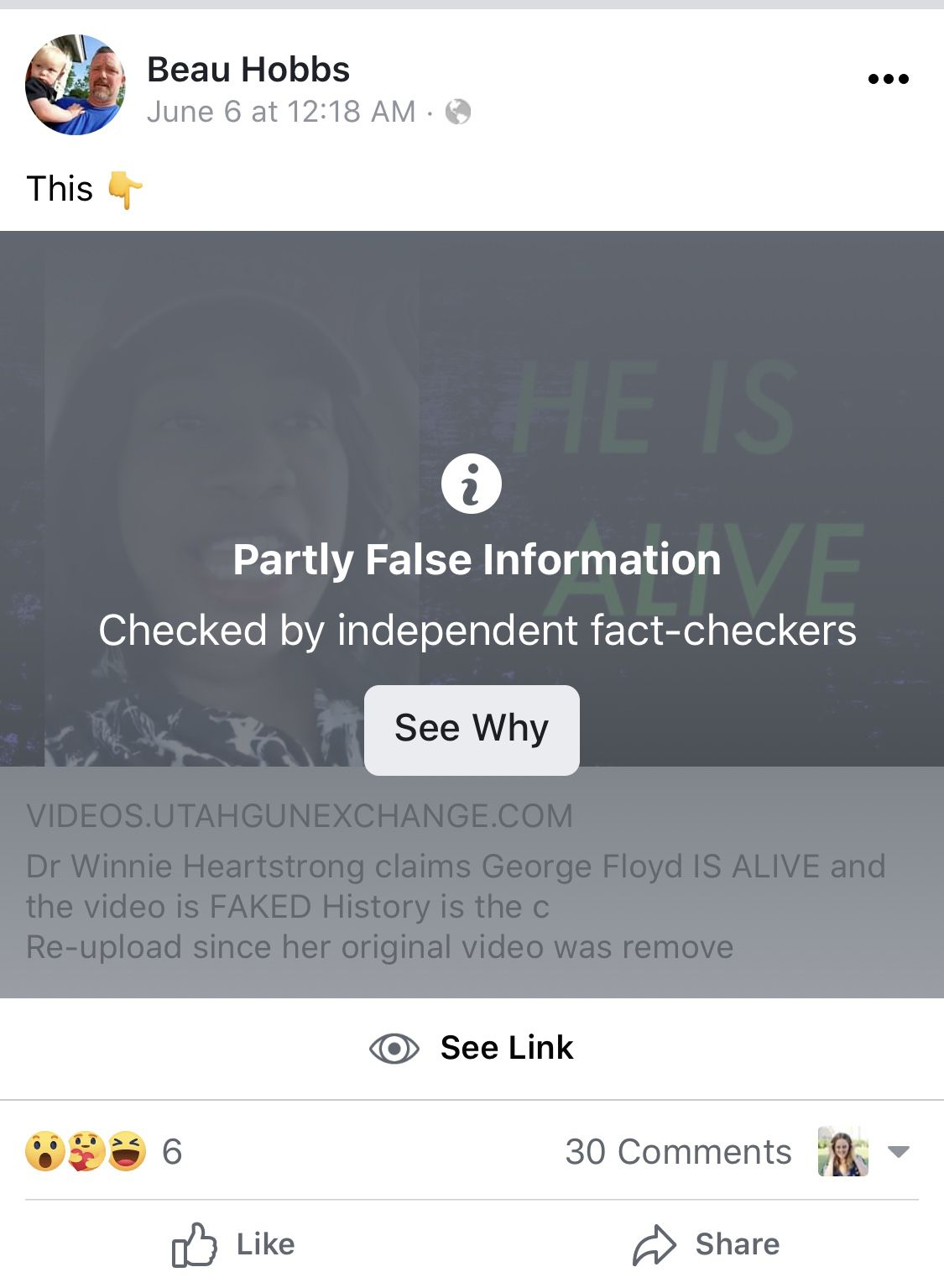 Screenshots from Beau Hobb's Facebook, showing a censored video claiming George Floyd is alive and the video is faked
