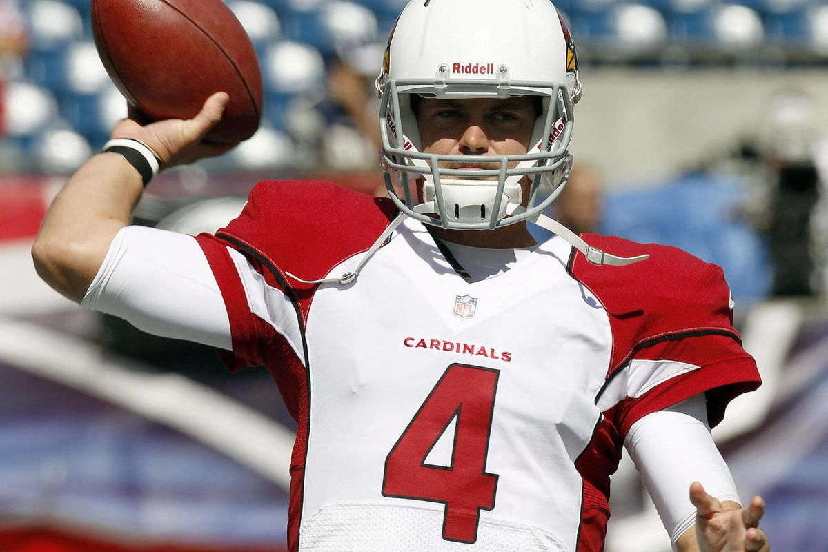 Arizona Cardinals quarterback Kevin Kolb warms up before an NFL football game against the New England Patriots, Sunday, Sept. 16, 2012, in Foxborough, Mass.
