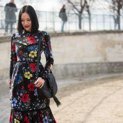 Tiffany Hsu in an Erdem dress.