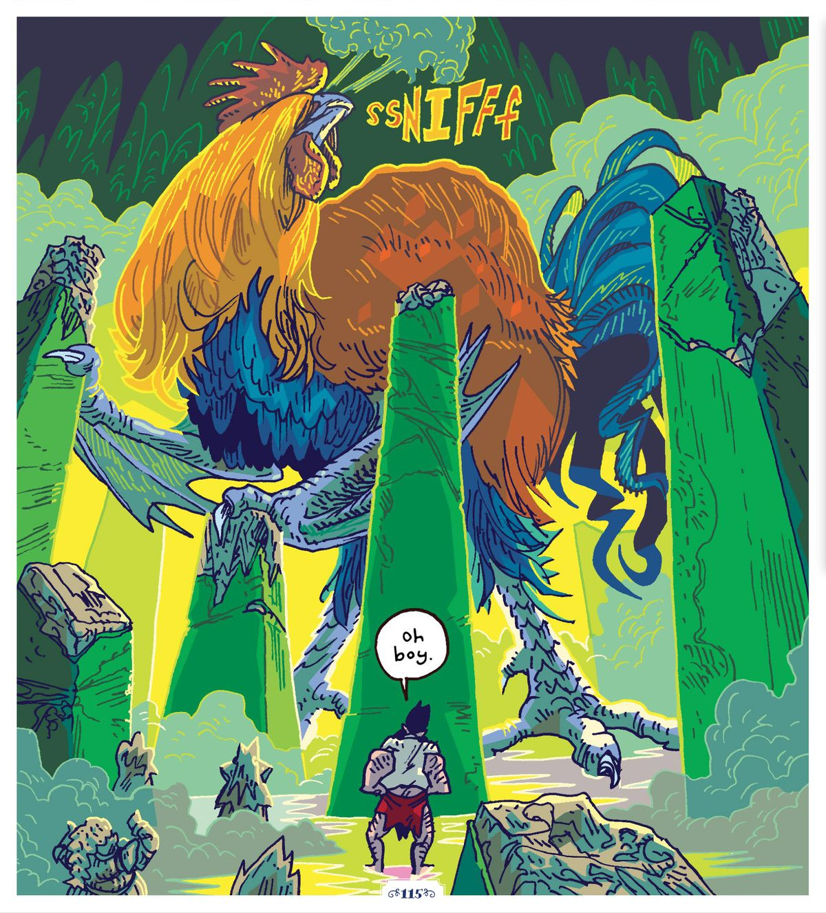 A cockatrice — basically a four-storey tall rooster with taloned and bat-winged arms — sniffs the air of an underground ruin, searching by scent for She Dwarf and Hack Battler, in The Savage Beard of She-Dwarf, Oni Press (2020).