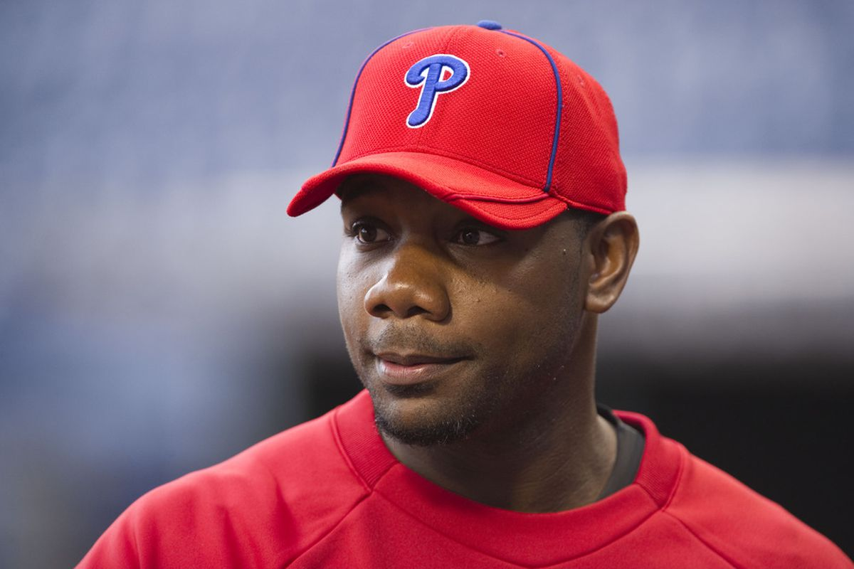 Apr 12, 2012; Philadelphia, PA, USA; Philadelphia Phillies first baseman Ryan Howard (6) during batting practice prior to playing the Miami Marlins at Citizens Bank Park. Mandatory Credit: Howard Smith-US PRESSWIRE