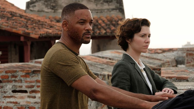Will Smith (age 51) and Mary Elizabeth Winstead in the movie Gemini Man.