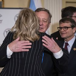 U.S. Sen. Dick Durbin hugs former Second Lady Jill Biden after endorsing former Vice President Joe Biden for president during a press conference at the Union League Club, March 6, 2020.