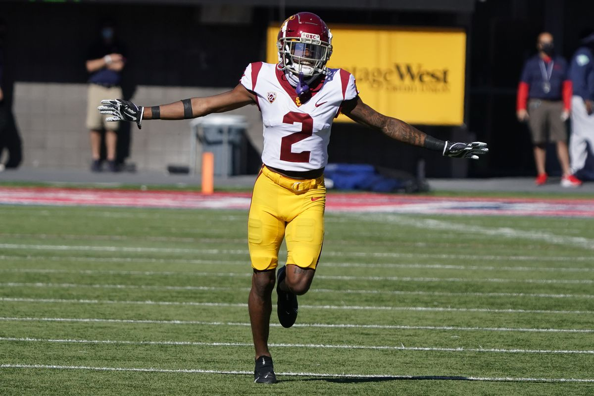 USC wide receiver Munir McClain reacts to a play during a 2020 NCAA college football game against Arizona in Tucson, Ariz.