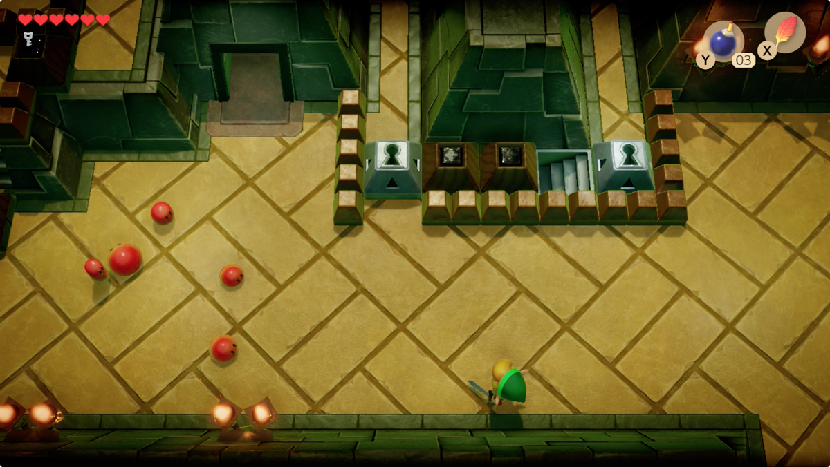 Link's Awakening Key Cavern moving left to fight some Red Zols