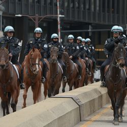 A heavy police presence near Trump International Hotel and Tower in Chicago on Monday, October 28, 2019.