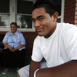 Patrick Palau smiles as he talks about his grandma Lavinia, left, Monday, Sept. 24, 2012. Patrick has signed to play for BYU when he returns from an LDS Mission.