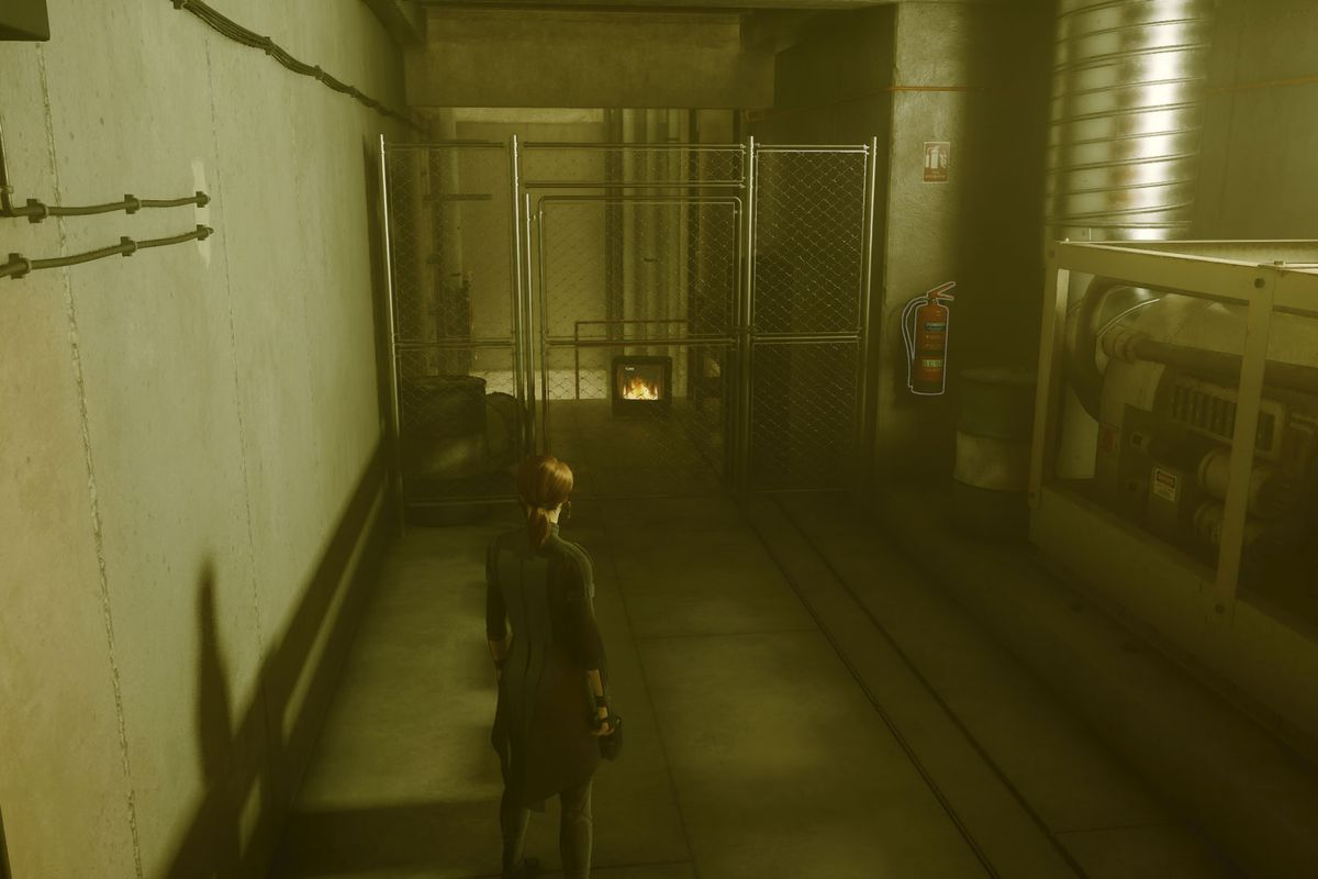 Control's protagonist Jesse looking at a fire TV