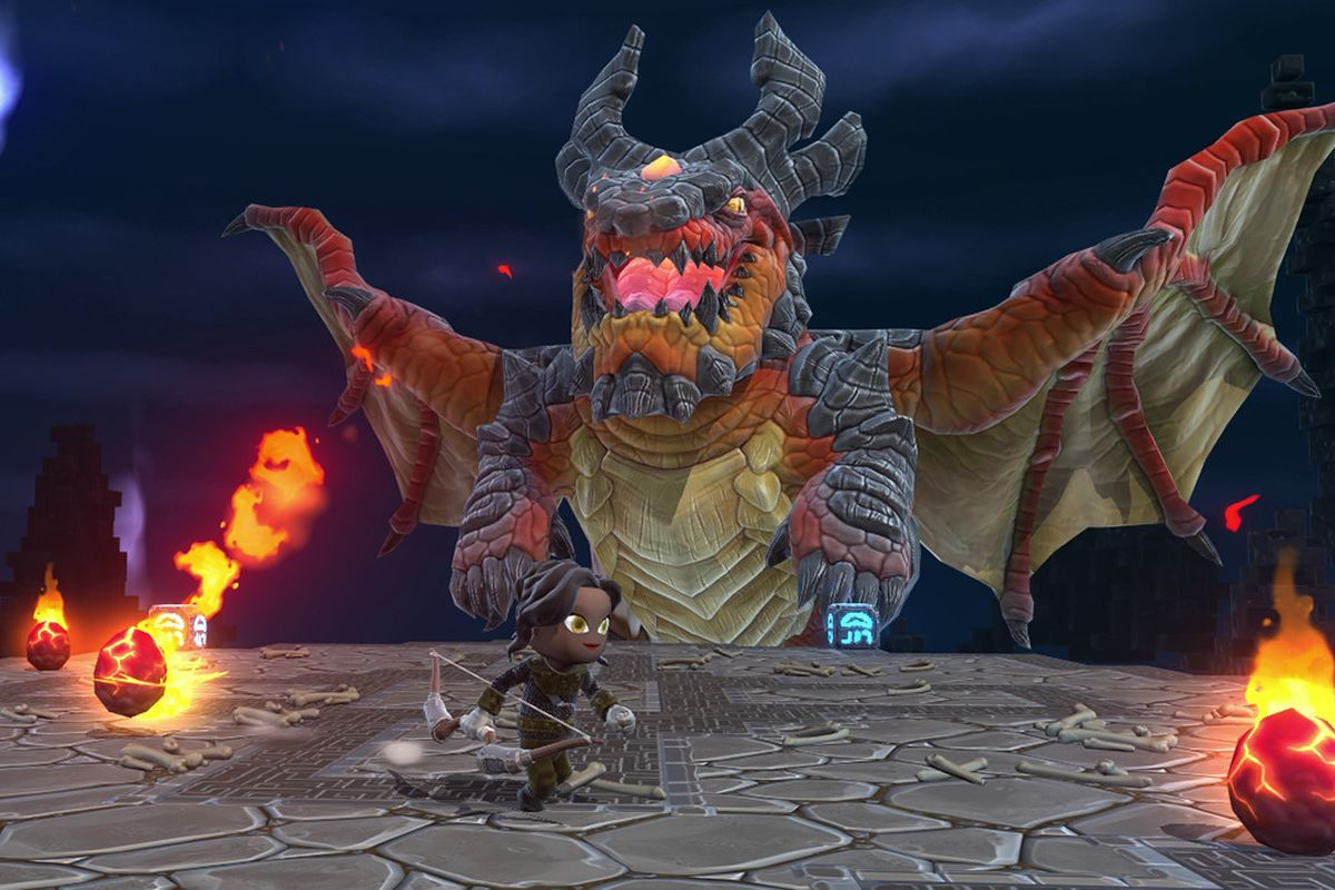 A player fights a giant dragon in Portal Knights