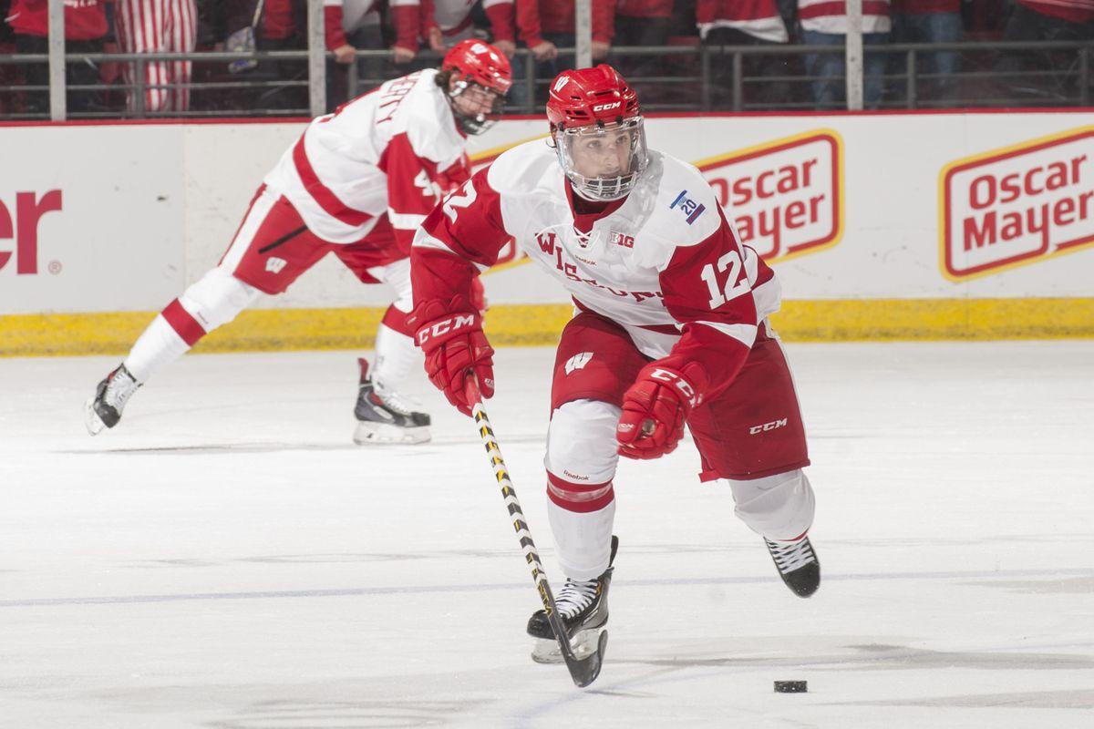 2013 Mr. Hockey Award winner Grant Besse (12) has eight points in his last five games against Minnesota.