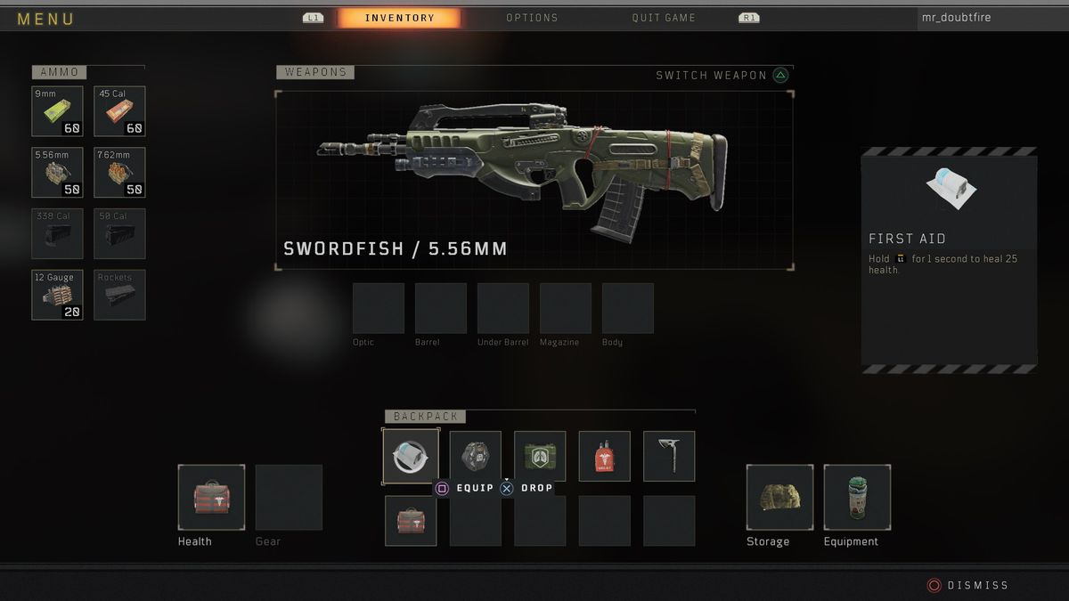 Call of Duty: Black Ops 4 Blackout Swordfish