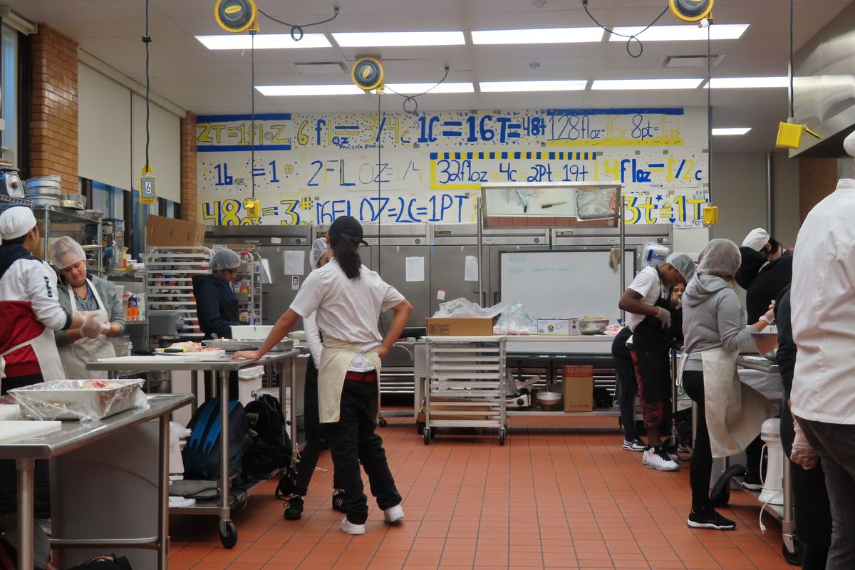 A culinary course at Theodore Roosevelt High School in Albany Park