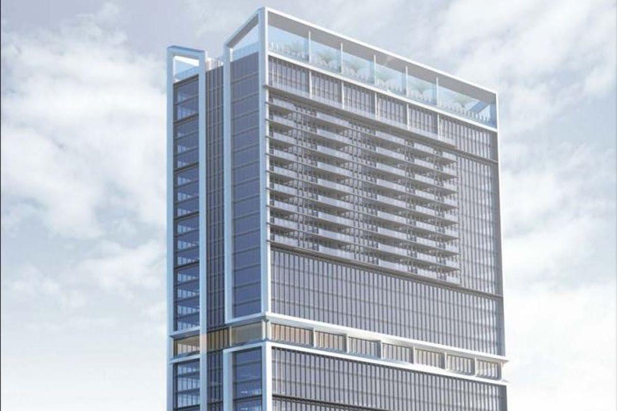 A tall city building.