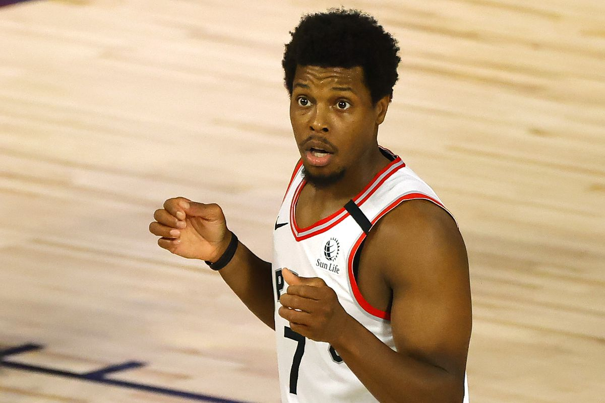Kyle Lowry of the Toronto Raptors reacts to being charged with a foul against the Brooklyn Nets during the fourth quarter in Game Two of the Eastern Conference First Round during the 2020 NBA Playoffs at The Field House at ESPN Wide World Of Sports Complex on August 19, 2020 in Lake Buena Vista, Florida.