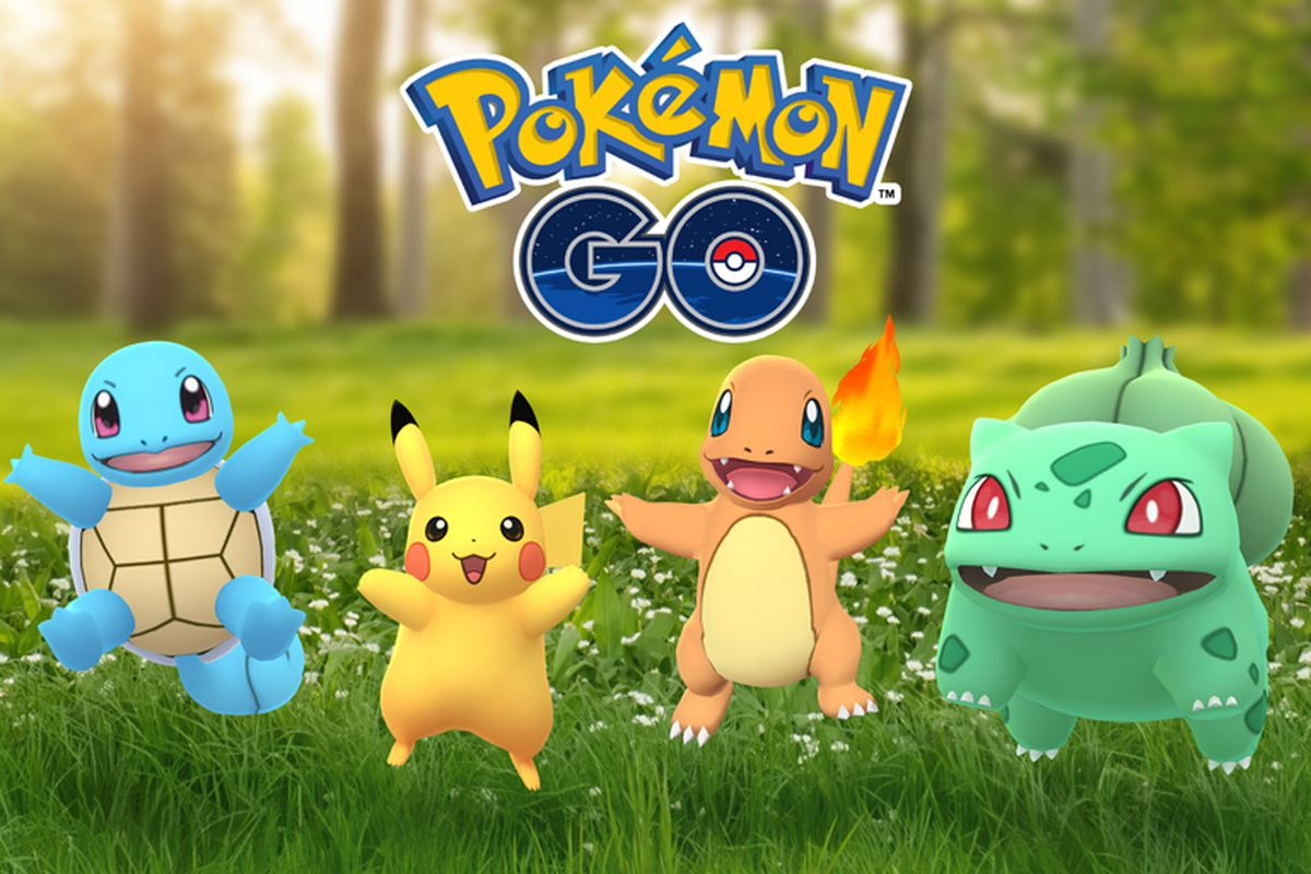 Pikachu, Charmander, Squirtle, and Bulbasaur celebrate the Kanto region