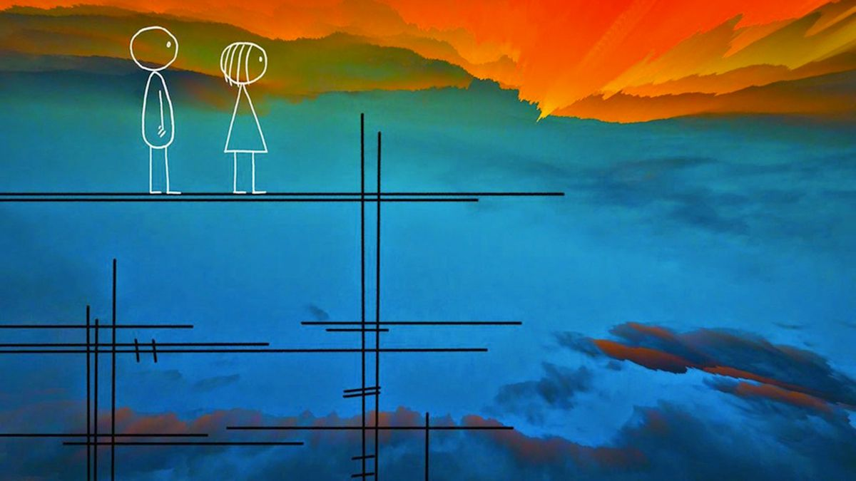 emily prime and emily stand and watch a sunset in world of tomorrow