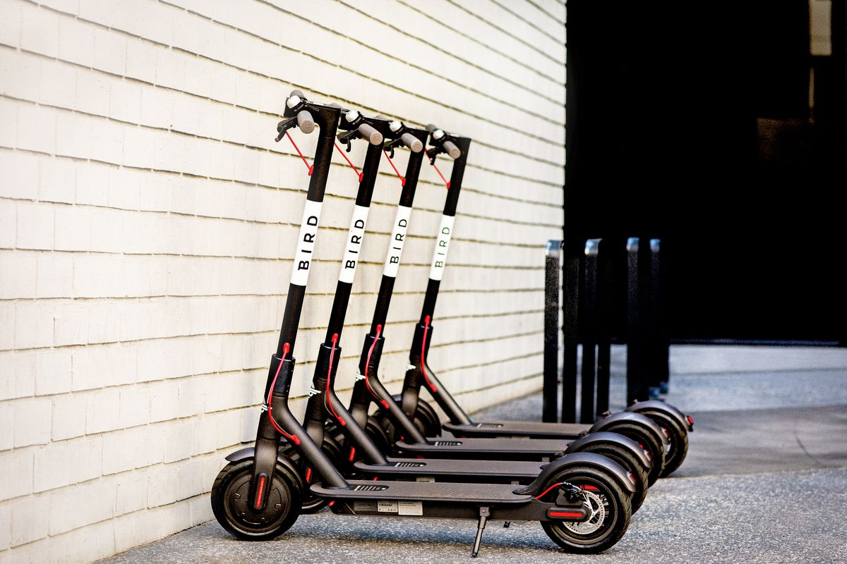 White electric scooters lined up facing a white brick wall.