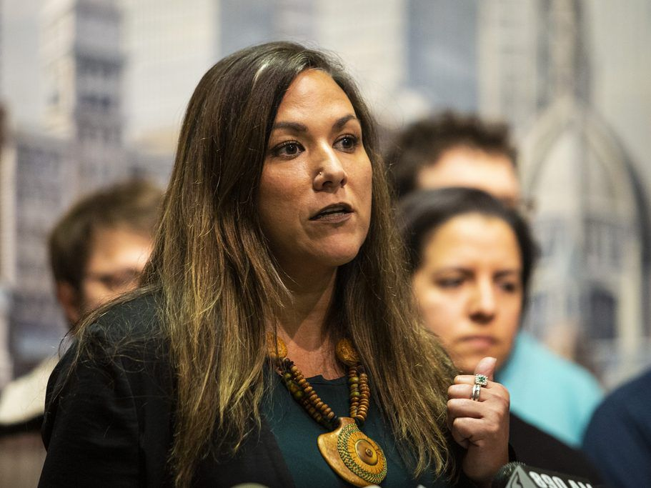 Sheila Bedi, an attorney with the MacArthur Justice Center, at a press conference at City Hall in April 11. File Photo.   Ashlee Rezin/Sun-Times