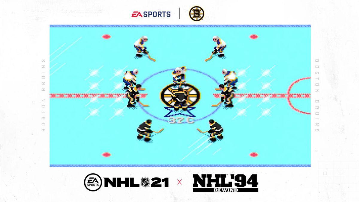 center ice shot of throwback 16-bit hockey players