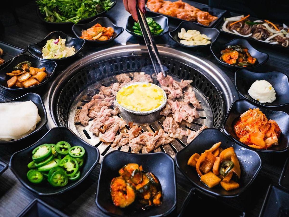 A Korean barbecue assortment