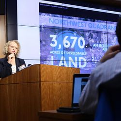 Salt Lake City Mayor Jackie Biskupski kicks off a two-year plan to build an infrastructure backbone and develop an economic implementation plan for the city's northwest quadrant west of the Salt Lake City International Airport and the International Center during a press conference at the Salt Lake City Public Safety Building on Monday, Dec. 5, 2016.