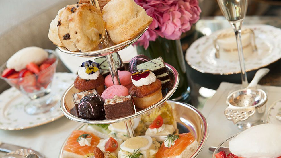 Afternoon tea spread at a fancy hotel.