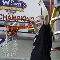 Brigham Young Cougars Haley Steed celebrates their win  in the West Coast Conference finals in Las Vegas  Monday, March 5, 2012.  BYU won the title and will advance to the NCAA tournament.