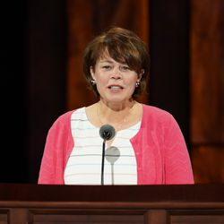 Sister Sharon Eubank, first counselor in the Relief Society general presidency, speaks during the women's session of the 190th Semiannual General Conference of The Church of Jesus Christ of Latter-day Saints on Saturday, Oct. 3, 2020.