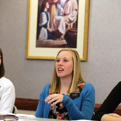 Sister Haley Furstenau, from Chicago, Ill., talks as sister missionaries gather at a training meeting for the Nevada Las Vegas Mission Friday, March 14, 2014, in Las Vegas.