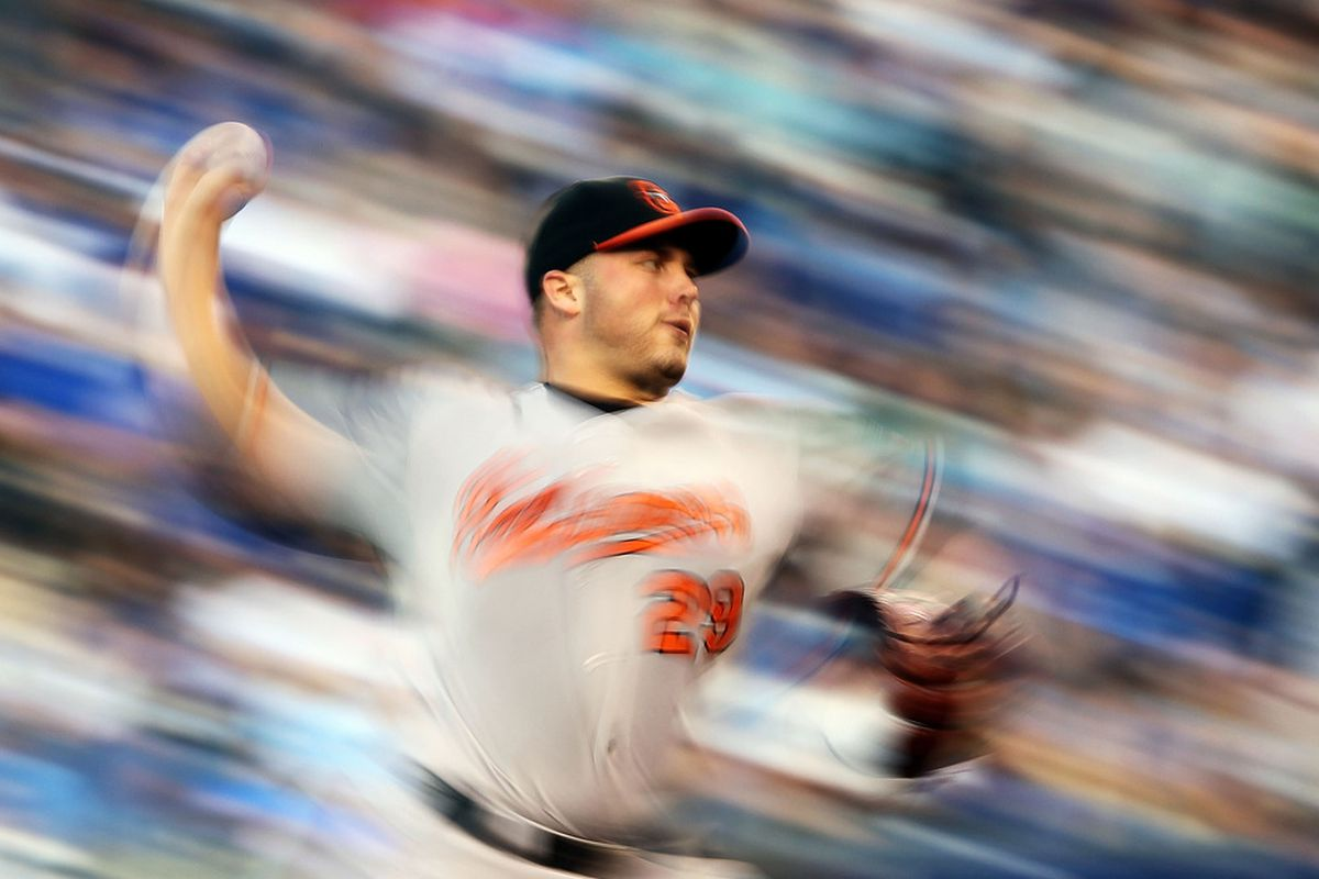 Uh oh. If Tommy Hunter can pull off that trick where he makes everything around him all whirly the Jays are in trouble. (Photo by Jamie Squire/Getty Images)