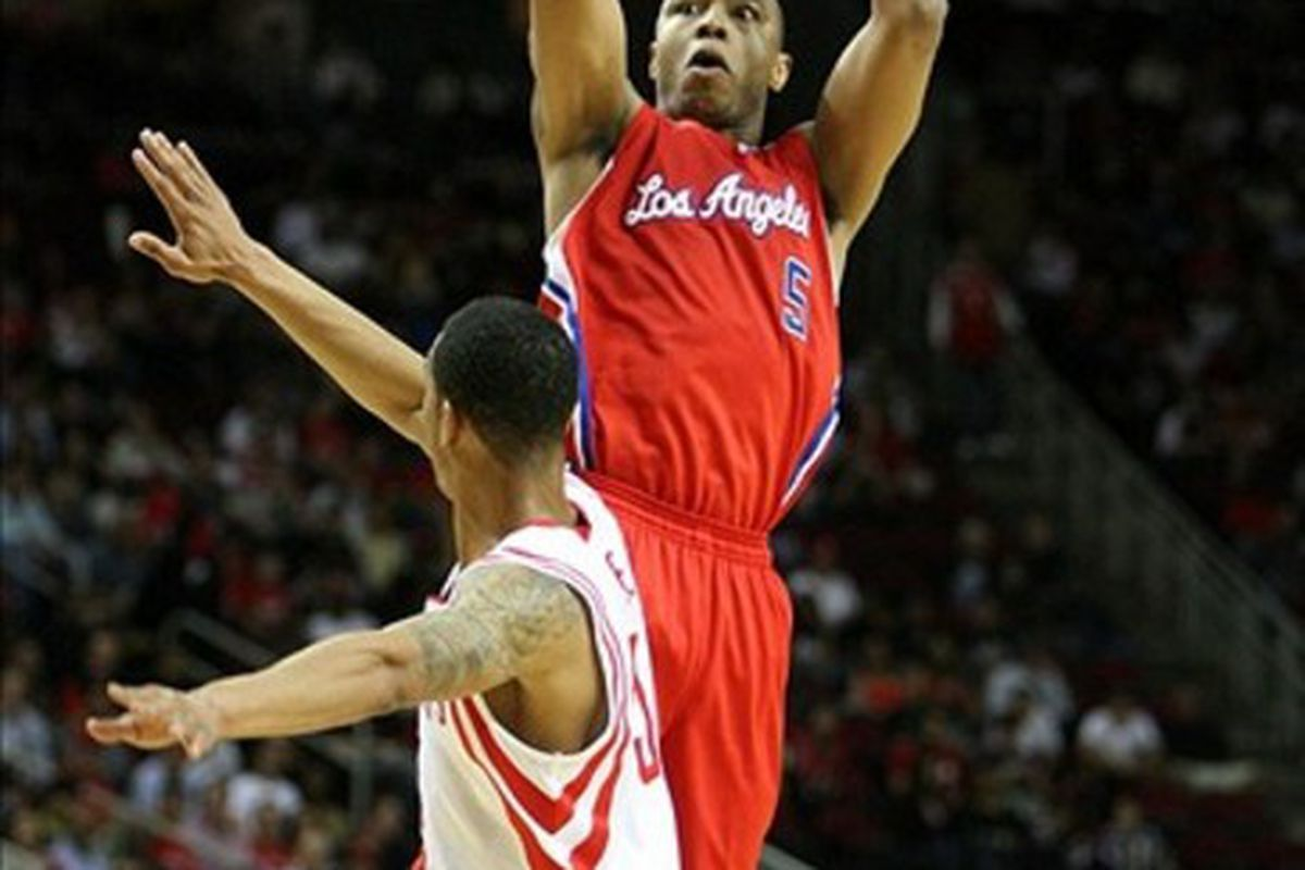 Mar 4, 2012; Houston, TX, USA; Los Angeles Clippers forward Caron Butler (5) takes a shot against the Houston Rockets in the second quarter at the Toyota Center. Mandatory Credit: Brett Davis-US PRESSWIRE