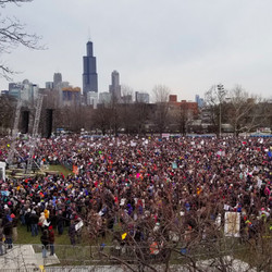 Protesters rally on Saturday morning in Union Park calling for tighter gun control laws in a March for Our Lives rally. | Ashlee Rezin/Sun-Times