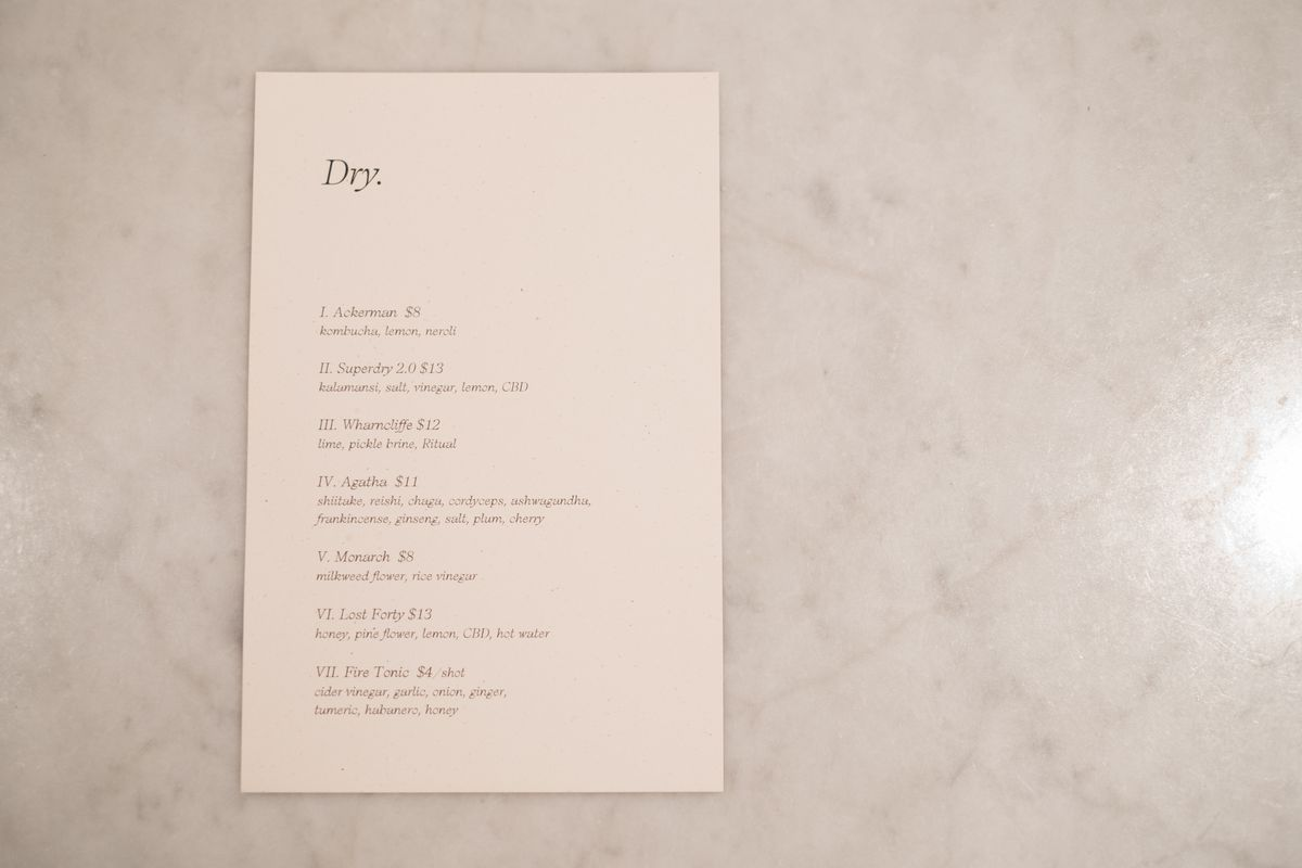 The one-page menu on the bar top