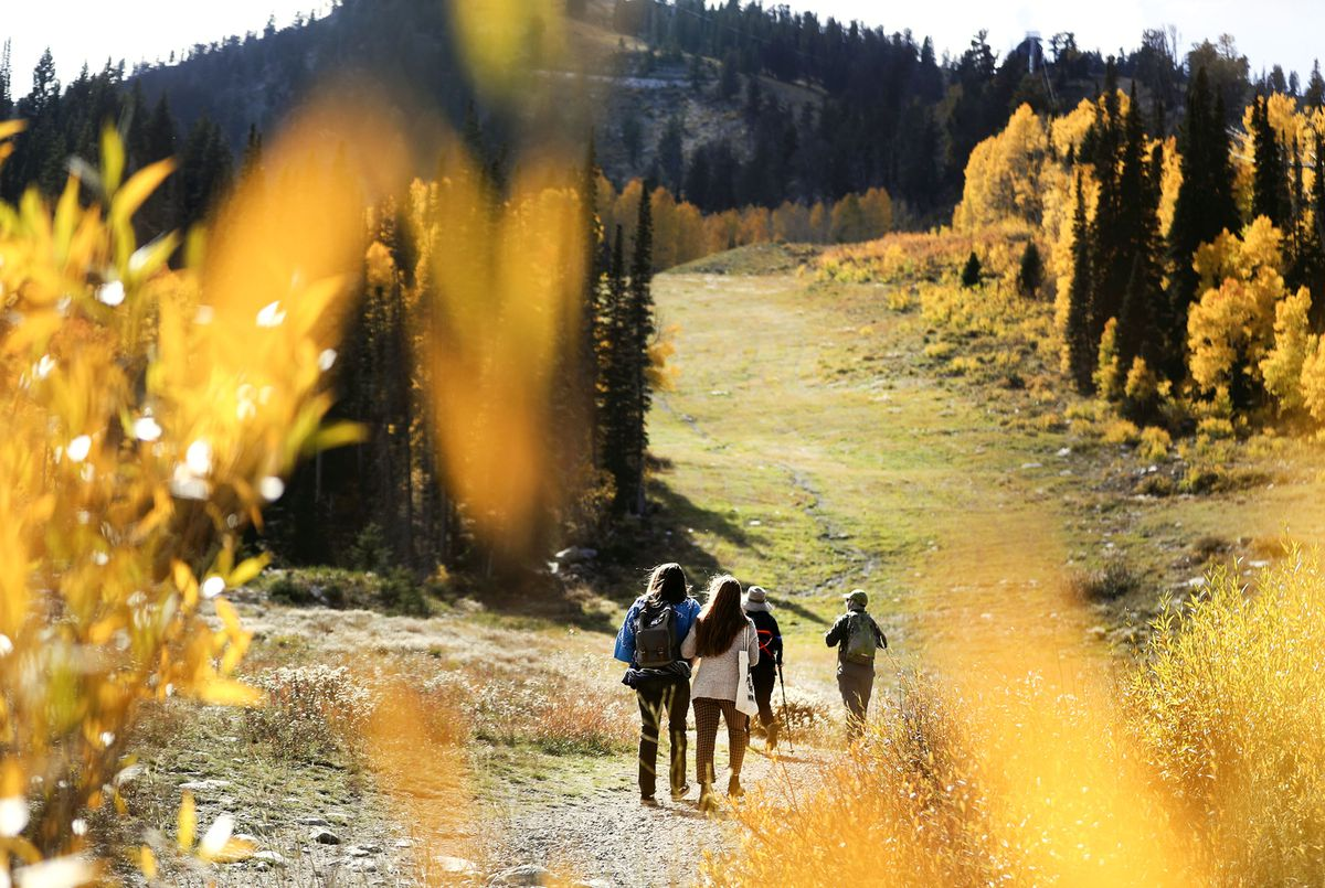 Hikers hike at Solitude Mountain Resort in Big Cottonwood Canyon on Friday, Oct. 1, 2021.