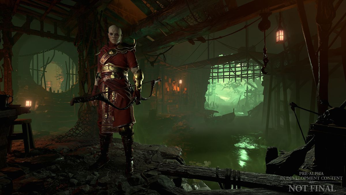 A Rogue stands in its lair in a screenshot from Diablo 4