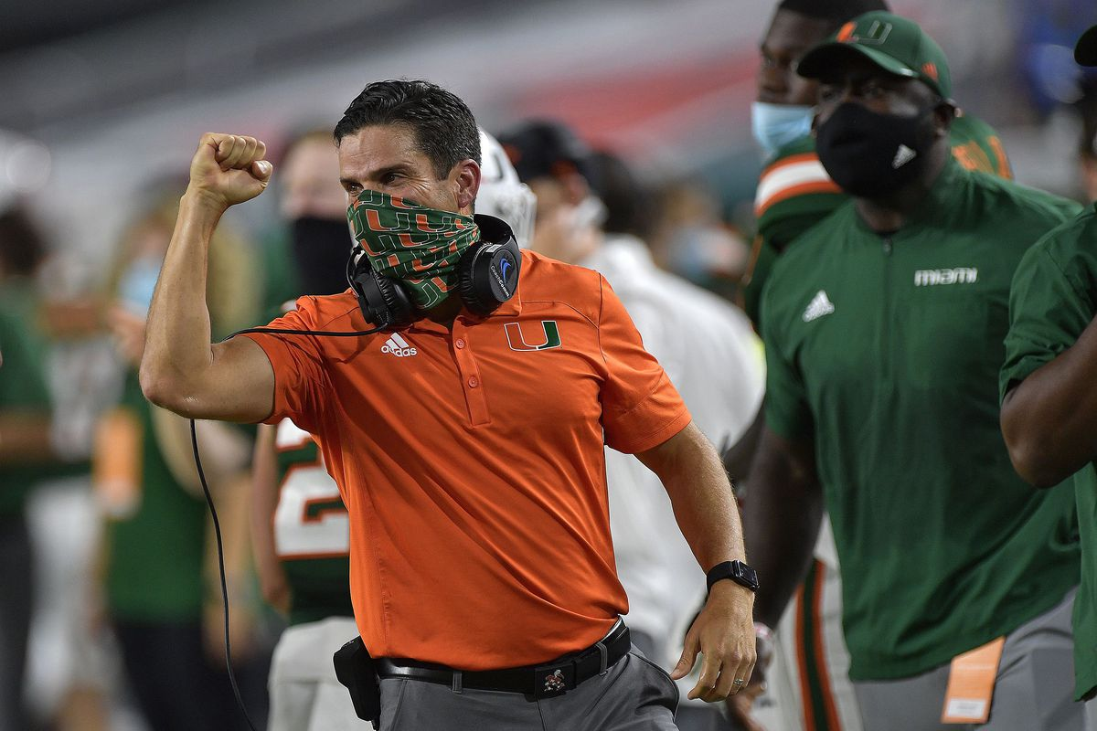 Miami head coach Manny Diaz celebrates a touchdown against Florida State on September 26, 2020. Diaz' Hurricanes played host to Pitt on Saturday, Oct. 17, 2020, grinding out a 31-19 win.